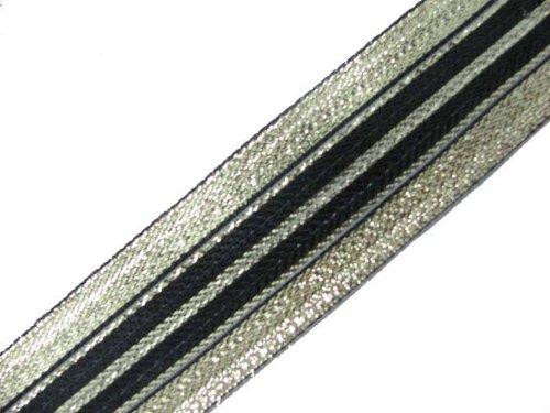 4.5 Y Metallic Double Color Jacquard Ribbon Border Trim Lace