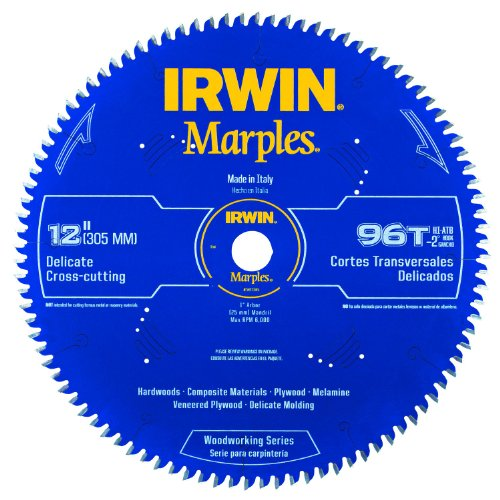 Irwin Tools 1807385 Marples Laser Cut 12-Inch 96-Tooth Hi-Alternate Tooth Bevel Circular Saw Blade With Negative Hook Angle