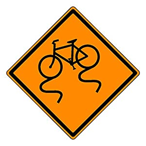 MUTCD W8-10 Orange Bicycle Slippery When Wet Sign, 3M Reflective Sheeting, Highest Gauge Aluminum,Laminated, UV Protected, Made in U.S.A