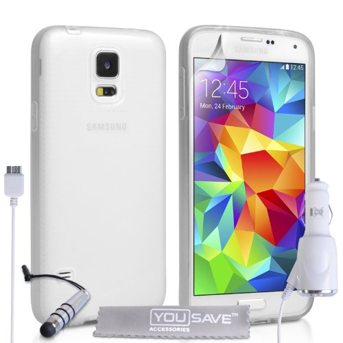 Yousave Accessories Samsung Galaxy S5 Case Clear Silicone Gel Cover With Mini Stylus Pen And Car Charger front-204663