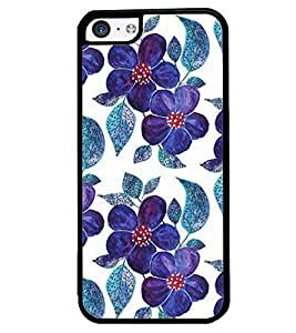 Printvisa Blue Floral Pattern Back Case Cover for Apple iPhone 5C