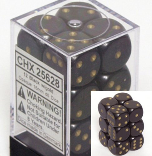 Black with Gold pips Opaque Dice 16mm D6 Set of 12