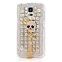 Samsung Galaxy S5 Case, Sense-TE Luxurious Crystal 3D Handmade Sparkle Glitter Diamond Rhinestone Ultra-Thin Clear Cover with Retro Bowknot Anti Dust Plug - Crown Skull Tassel / Silver