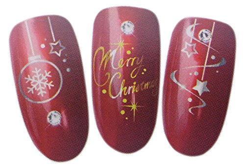 Glittering Christmas Design Nail Art Wrap Water Transfer Decal Sticker for Natural/False Nails - GOLD