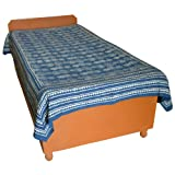 Block Printed Floral Bagru Print Design Cotton Flat Single Bed Sheet - B00GSSP3P0