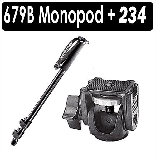 Manfrotto 679B Three Section Black Monopod with 234 Swivel Tilt Head