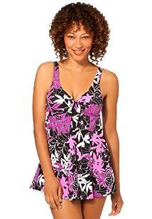 Penbrooke Women's Plus Size bow-front swimdress