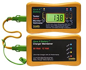Save A Battery 3125 12-Volt Battery Charger Maintainer and Tester Alarm Combo Pack