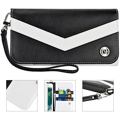 caseen ViVi Women's Smartphone Wallet Clutch Wristlet Case (Black/White) for Apple iPhone 6 5S 5C 5 4S 4, Samsung Galaxy S5 S4 S3, Google Nexus 5, LG G2, HTC One M7, Sony Xperia Z3 Compact / Z, Moto X, Moto G, Droid Razr [Up to 5.75 x 3.1 Inch Cellphone] - Medium Size (Wristlet For Samsung Galaxy S3 compare prices)