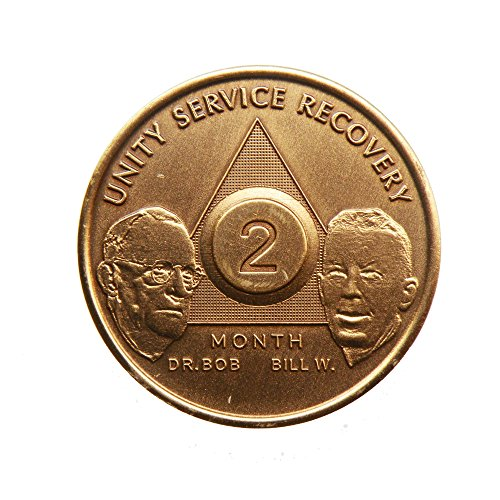 2 Month Bill & Bob Founders Edition Bronze AA (Alcoholics Anonymous) - Sober / Sobriety / Birthday - Anniversary Recovery Medallion / Coin / Chip - 1