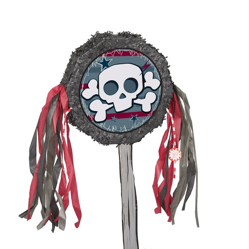 Mini Skull and Crossbones Pinata, Pull String