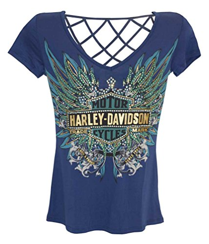 Harley-Davidson Women's Tee, Rhinestone Live To Ride B&S, Blue HD215-007BLU (L)