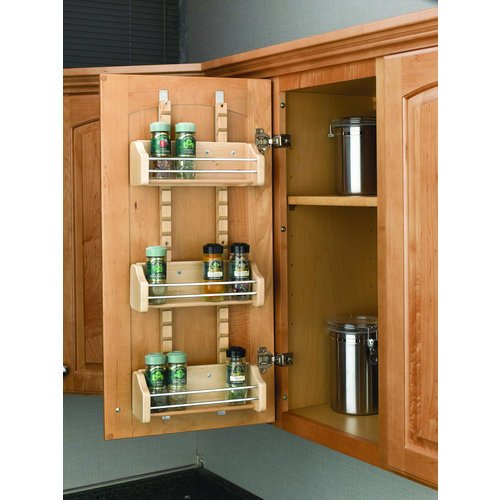 Rev-A-Shelf 4ASR-15 4ASR Series Adjustable Door Mount Spice Rack with 3 Shelves, Natural Wood