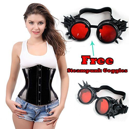 Lelinta Shiny PVC Corset Lace up Back Waist Trainer Bustier With Free Goggles