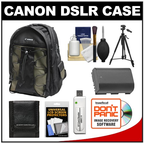Canon 200EG Deluxe Digital SLR Camera Backpack Case + LP-E6 Battery + Tripod + Accessory Kit for EOS 7D, 70D, 60D, 5D Mark II III