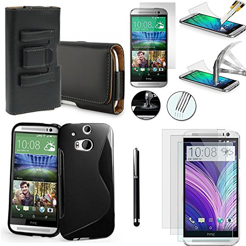 Vcomp® HTC One (M8)/One M8s/(M8) Eye/HTC Butterfly 2:-Cover Custodia astuccio accessori silicone gel film vetro temprato Pennino Pelle Clip Cintura-Nero