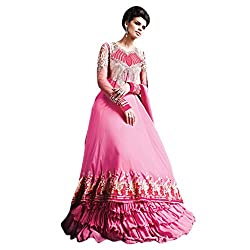 Yes Fashions Women's Party wear Pink Georgette+Net Semi Stitched Salwar Suit