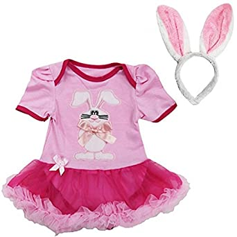 Baby Easter Bunny Bodysuit Pettiskirt Ears Headband 2pcs Set