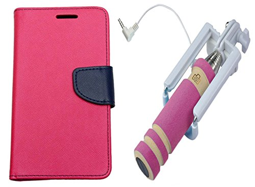 Uni Mobile Care Flip Cover For Sony Xperia C5 - Pink + Mini Pocket Selfie Stick With Aux Cable For Mobile - Pink