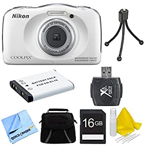 Nikon COOLPIX S33 13.2MP Waterproof Shockproof Digital Camera White Deluxe 16GB Bundle