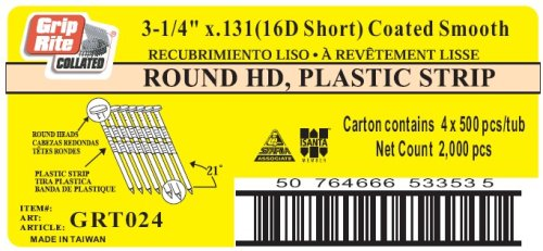 Grip-Rite 16d Short - 3-1/4-Inch x .131 Vinyl Coated, Smooth Shank, 21? Full Round Head, Plastic Collated, Stick Framing Nails - 500 per tub