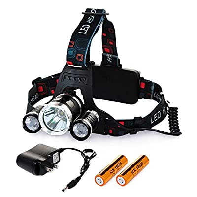 Chnano LED Headlamp Waterproof LED Headlight Flashlight Torch 3 CREE XM-L2 T6 LED 5000 Lumen Bright with Rechargeable Batteries and Wall Charger for Hiking Camping Riding Fishing Hunting Emergency Use