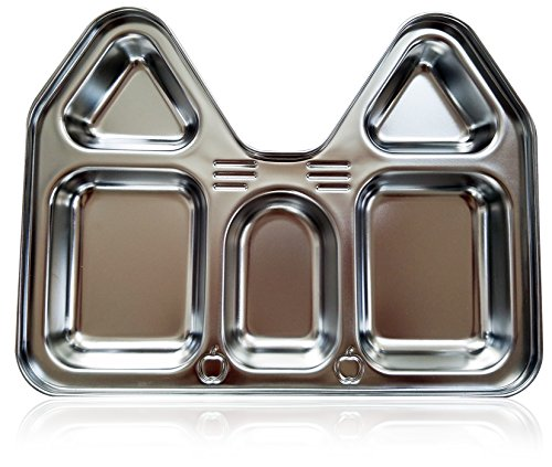 Premium Stainless Steel Kids Plate with Sections, Castle (House) Shape (Stainless Steel Childrens Bowl compare prices)