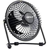 OPOLAR Mini USB Table Desk Personal Fan (Metal Design, Quiet Operation; 3.9 feet USB Cable, High Compatibility - Black)