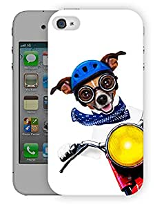 """Humor Gang Cute Dog Driving Bike Printed Designer Mobile Back Cover For """"Apple Iphone 4-4S"""" (3D, Matte, Premium Quality Snap On Case)"""