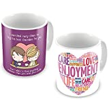 Valentine Gifts for Boyfriend Girlfriend Purple You are More Sweeter than Chocolate & White Love Description Life Care set of 2 Printed Best Quality Ceramic Mug Gift for Him Her Wife Husband Fiance Spouse Home Birthday Anniversary