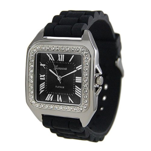 Geneva Platinum Square Face Silicon Strap Watch