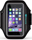 iPhone 6 6S PLUS Armband : Stalion® Sports Running & Exercise Gym Sportband iPhone 6 PLUS (5.5-Inch)[Lifetime Warranty](Jet Black)Water Resistant + Sweat Proof + Key Holder + ID / Credit Card / Money Holder