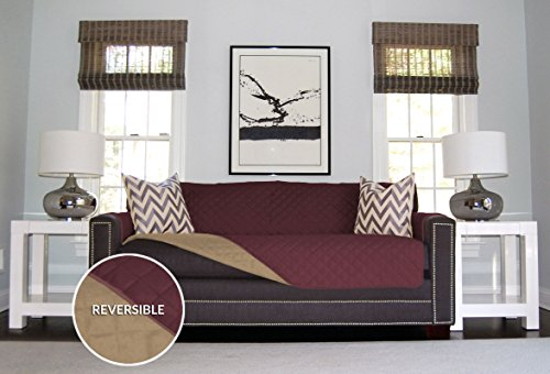 Sofa Shield Reversible Furniture Protector for Sofa, Sofa Extra-Wide, Loveseat, and Chair, Burgundy/Tan (Cover Sofa compare prices)