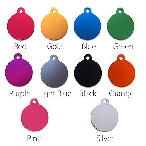 happypettag - Circle with tab Personalized Pet ID Tags | 8 Colors & 2 Sizes to Select | FREE Customized Engraved Dog ID Tags, Cat ID Tags, Double Sided FREE Engraving up to 3 Lines. (Double Sided Dog Id Tag compare prices)