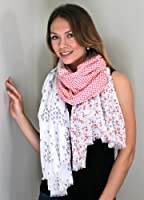 Women's Nora Polka Dot Birds and Ditsy Floral Fashion Scarf / Shawl / Wrap