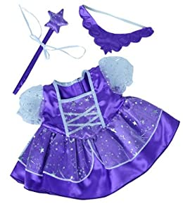 Amazon.com: Purple Fairy Princess Dress w/Wand Teddy Bear Clothes ...