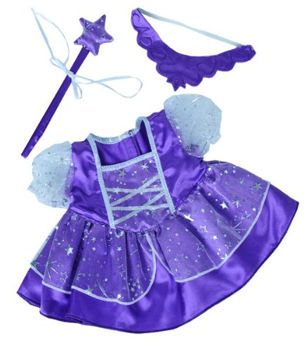 Purple Fairy Princess Dress w/Wand Teddy Bear