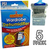 New Hanging Wardrobe Dehumidifier - Ideal to stop damp, mould mildew & condensation - Remove damp and improve air quality - Small and Discreet (Pack of 5)