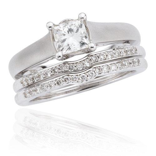 14k White Gold 3-Piece Princess-Cut Diamond Bridal Ring Set (.22 ct Center 1 cttw, G-H Color, I1 Clarity), Size 5