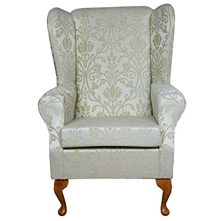 High Back Westoe Chair in Gold Medallion Fabric