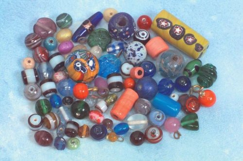 School Specialty Indian Glass Bead Assortment, 1/2-lb. Package