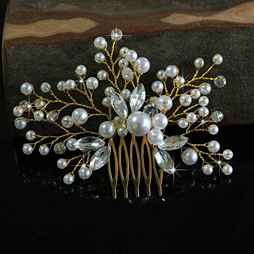 Venusvi Vintage Wedding Hair Combs with Bead and Rhinestones - Bridal Headpiece for Bridesmaids 6