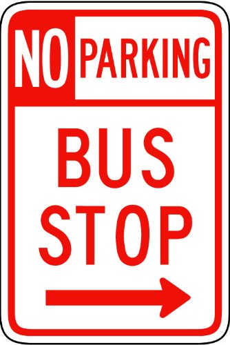 Street & Traffic Sign Wall Decals - No Parking Bus Stop Sign - 24 inch Removable Graphic