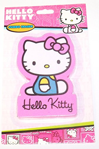 "Hello Kitty Jumbo Eraser ~ Kitty Sitting in Blue Outfit with Pink Bow (2.5"" x 3.6"" x 0.3"") - 1"