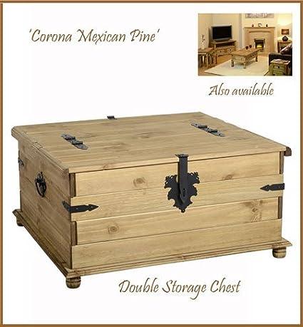 Madera de pino Corona caja de almacenaje - para cama de matrimonio