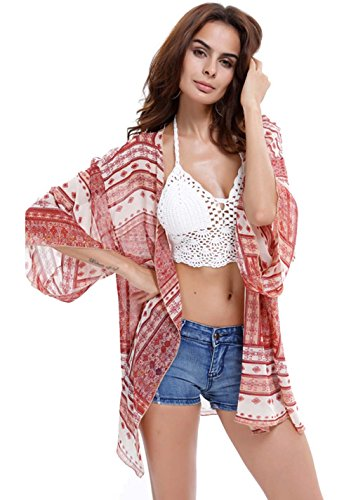 Upopby Women's Floral Printed Chiffon Swimsuits Cover Up Beach Bikini Kimono Cardigan Red (Womens Red Kimono)