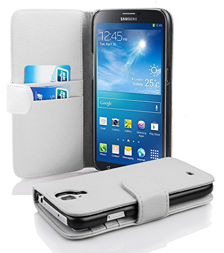 Cadorabo ! PREMIUM - Book Style Hülle im Portemonnaie Design für Samsung Galaxy MEGA 6.3 (GT-i9200 / GT-i9205) im Book Style in MAGNESIUM-WEIß