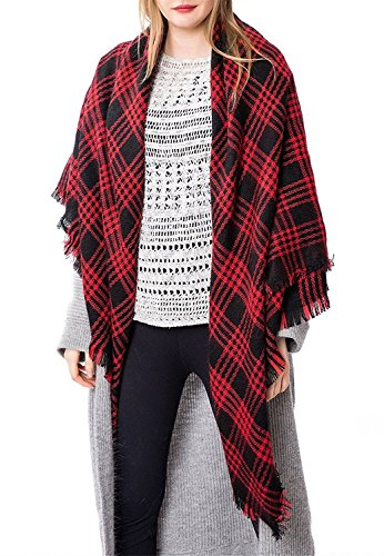 Zando Soft Warm Tartan Plaid Scarf Shawl Cape Blanket Scarves Fashion Wrap Red Black (Red And Black Hooded Flannel compare prices)
