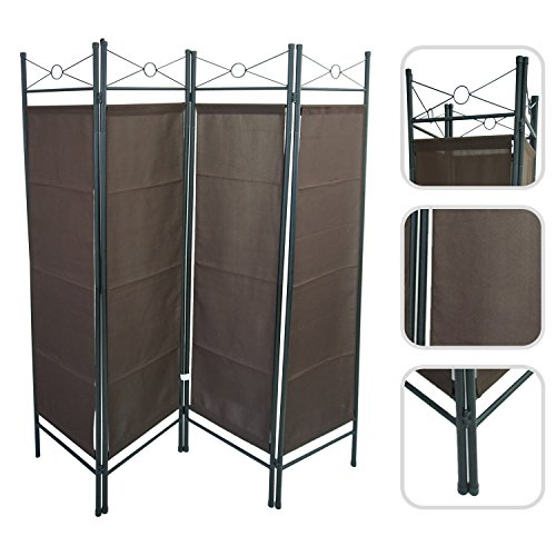 4-panel-brown-canvas-room-divider-in-lacquered-steel-todeco-movable-partition-screen