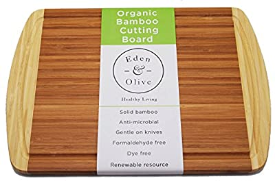 "Eden & Olive - Organic Bamboo Thick Wood Cutting Board and Chopping Block with Drip Groove Edge, Large, Extra Large, 18"" X 12.5"", Reversible Cheese Plate - Perfect Wedding Shower or Birthday Gift!"